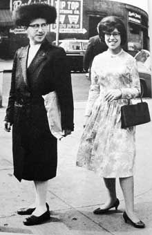 Married Satmar couple dressed for Shabbos circa 1960's.