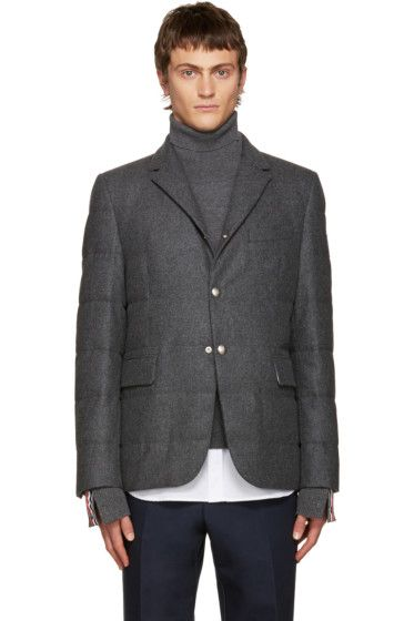 574ee114d Moncler Gamme Bleu - Grey Wool Quilted Down Blazer