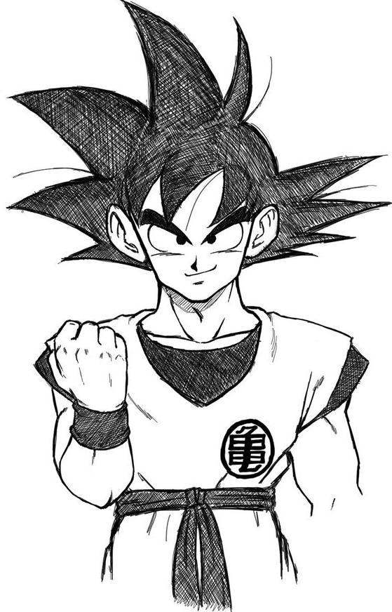 Facile Dragon Ball 10 San Goku Gt - Coloriage Dragon Ball