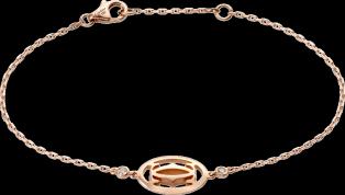 Logo bracelet Pink gold, diamonds