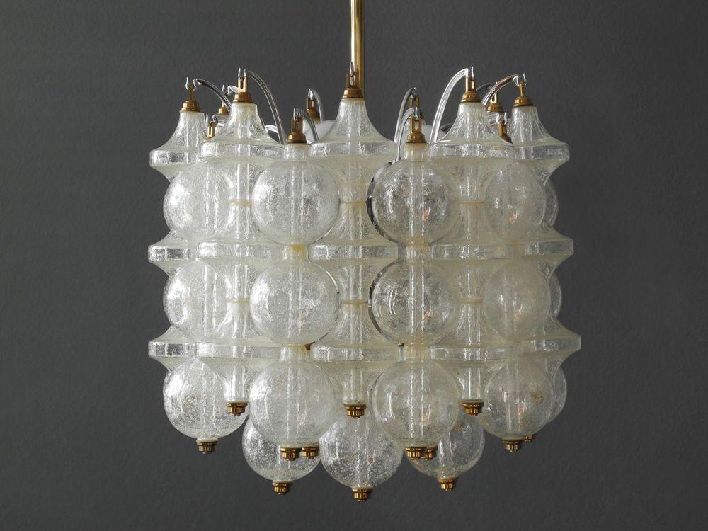 1960s J T Kalmar Franken Tulipan Frosted Glass Ball Ceiling Lamp Austria Ebay Milchglas Deckenlampe Lampe