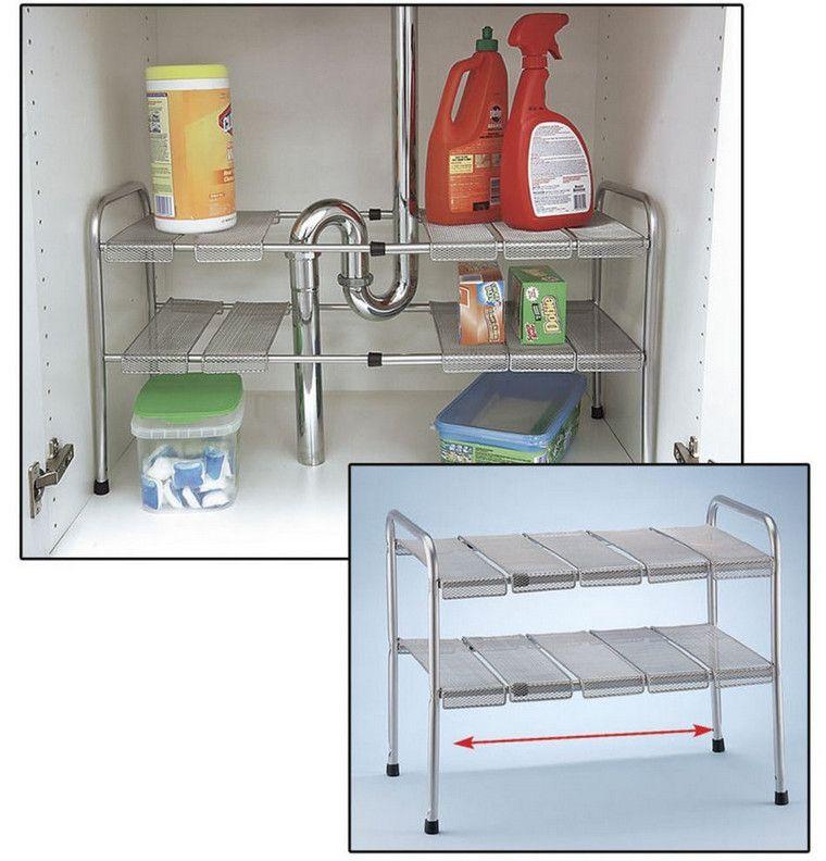 expandable under sink storage shelf - Under Kitchen Sink Storage Ideas