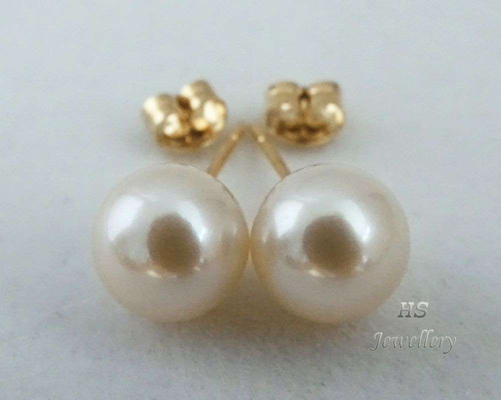 HS Round South Sea Cultured #Pearl 10mm #Stud #Earrings #14K Yellow #Gold Top Grading