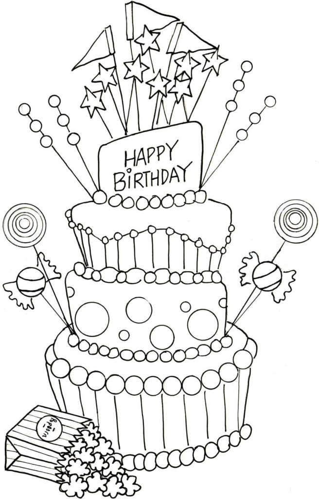 Happy Birthday Party Cake Coloring Page | Happy birthday ...
