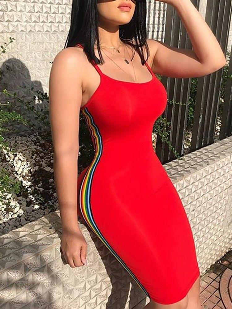 Women Summer Spaghetti Straps Multi-colored Stripes Bodycon Cocktail Party Dress