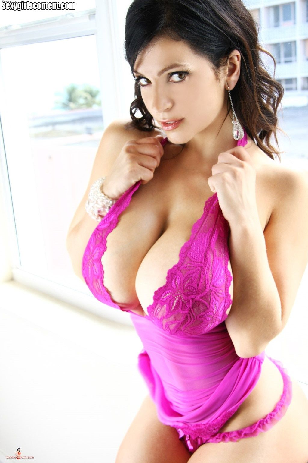 All personal Brunette purple lingerie