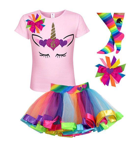 6 cumpleaños camiseta arco iris oro unicornio cuerno con camisa de ...