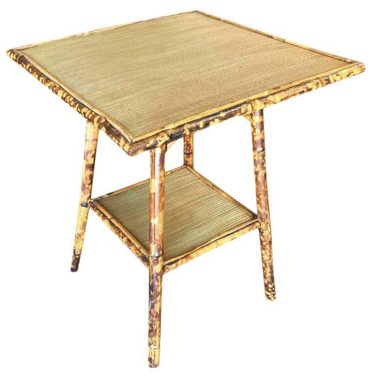 Restored Tiger Bamboo Pedestal Side Table With Large Top