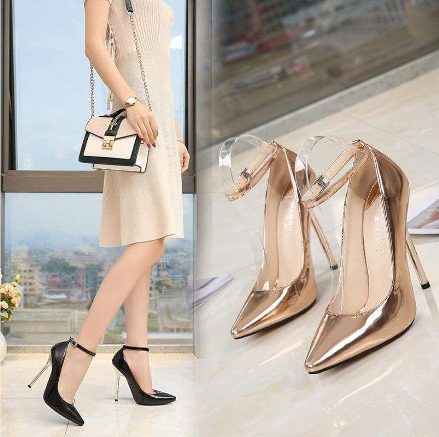 Bridal Shoes Alternative: Wedding Shoes Buckle Pointed Toe 13CM High Heels In 2019
