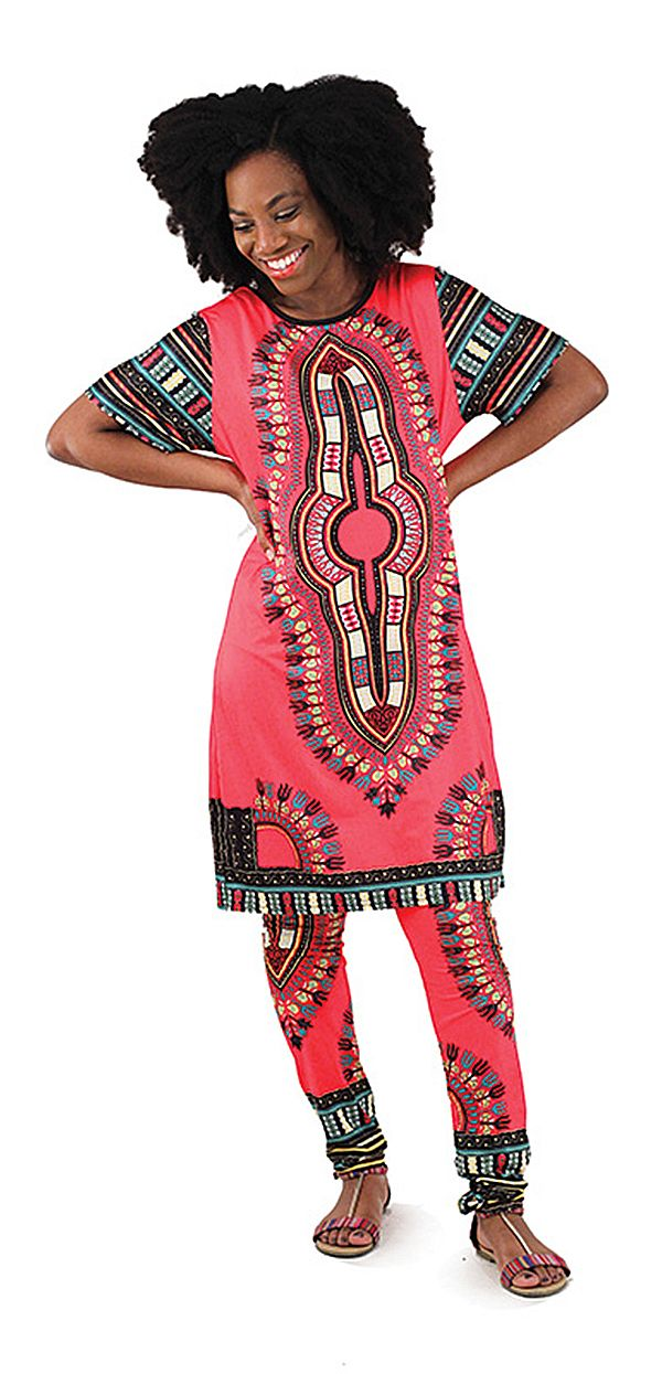 African Womens Traditional Long Top Pant Suit - Africa Imports - Beautifully colorful African style womens pant suit that is comfortable and stylish!  We love the bright colors inspired by African fashion and intricate African patterns on this print. #africanfashion #africa #womeninafrica #womensfashion #womenswear #africanstyle #african #tribal #fashion