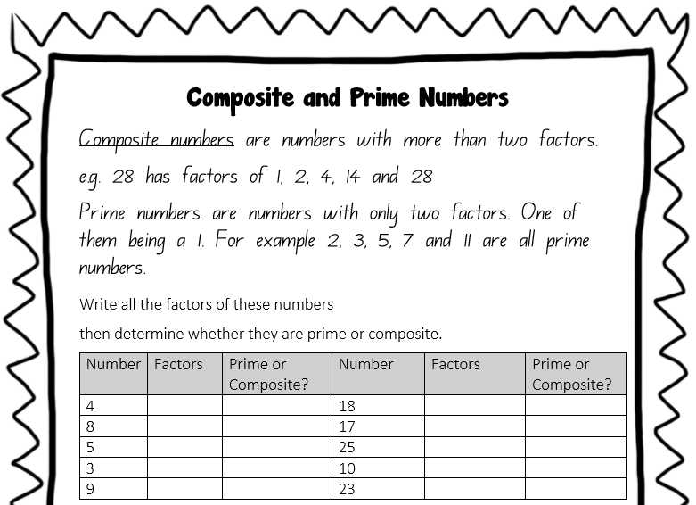 Prime Numbers And Composite Numbers This Is A Worksheet For