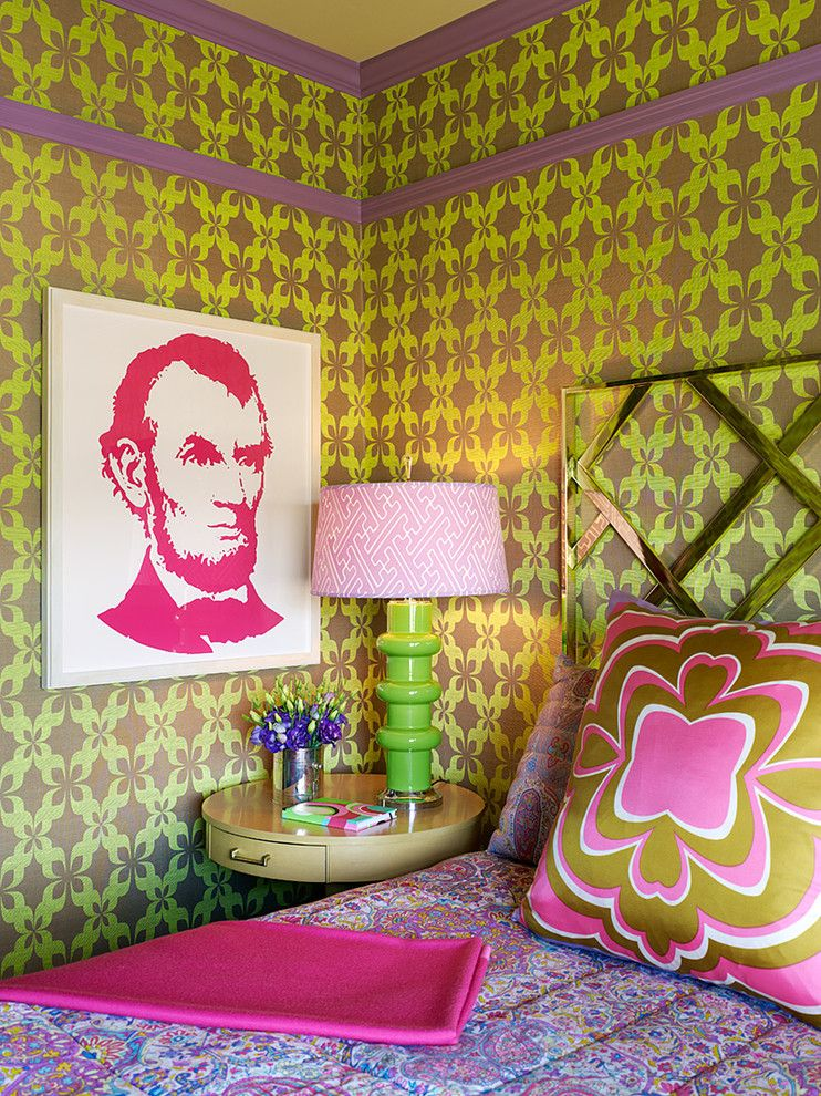 I like everything but the wall paper.Cute bedside table, funky lamp ...