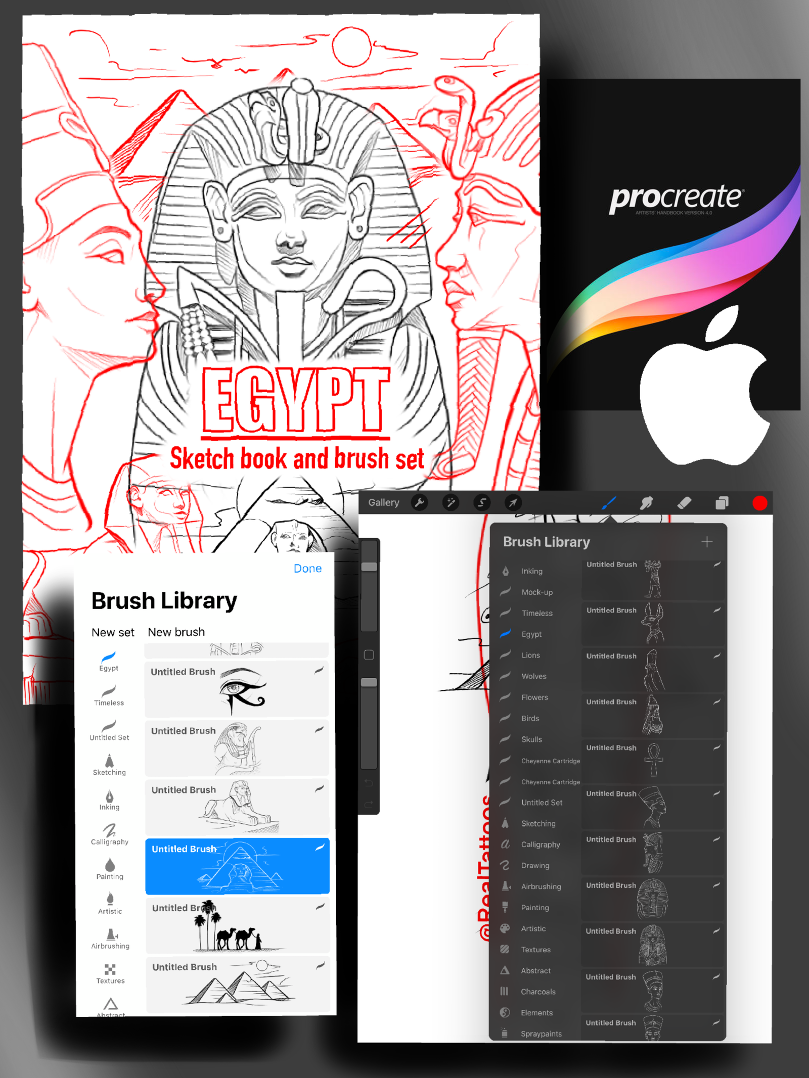 15 Pages Of Designs And 20 Different Brushes Brush Sets Are Only Compatible With Procreate For Ipad And Iphone In 2020 Sketch Book Egypt Tattoo Design Egypt Tattoo