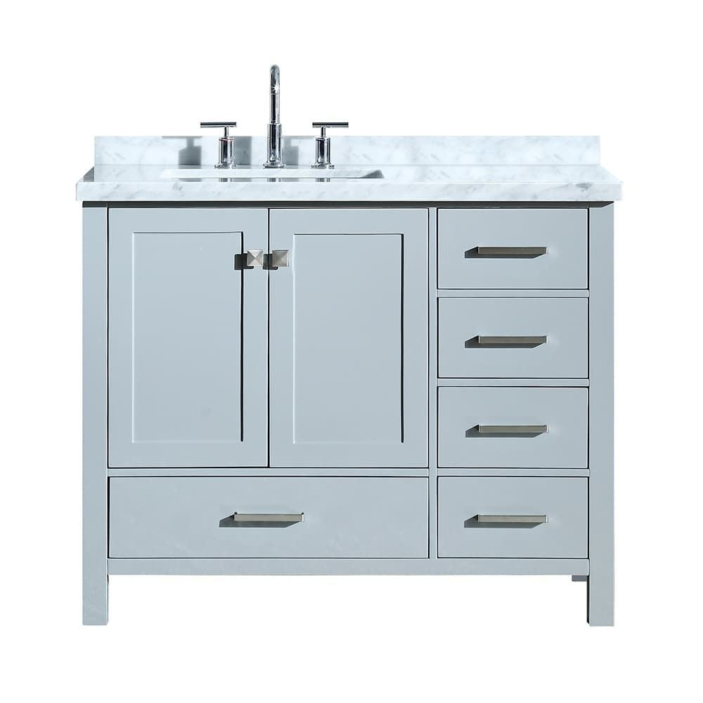 Ariel Cambridge 43 Left Offset Single Rectangle Sink Vanity Set In Grey Gray With Images Single Sink Bathroom Vanity Bathroom Sink Vanity Single Sink Vanity
