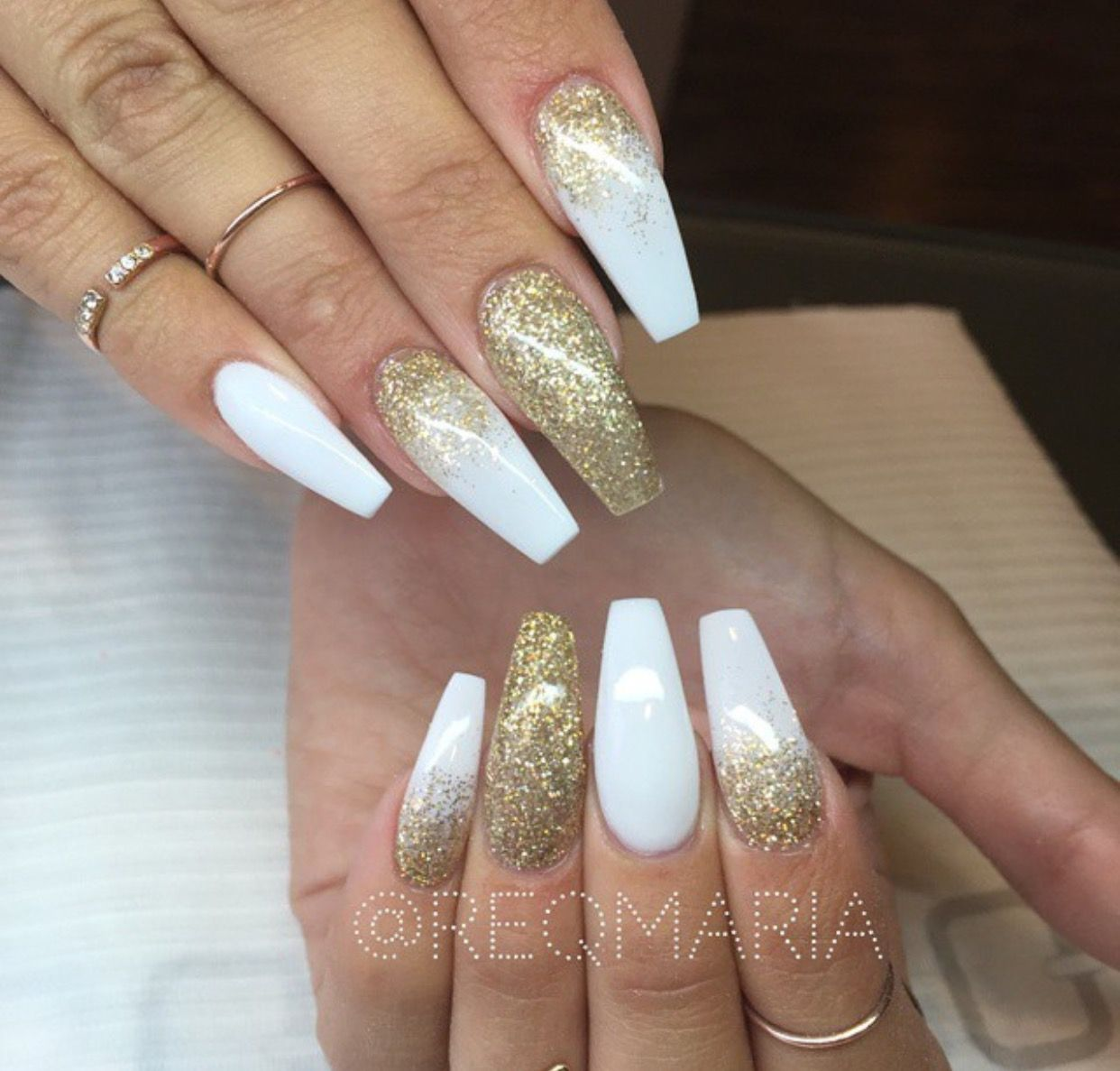new years nails, white, gold, glitter | Nail Designs | Pinterest ...