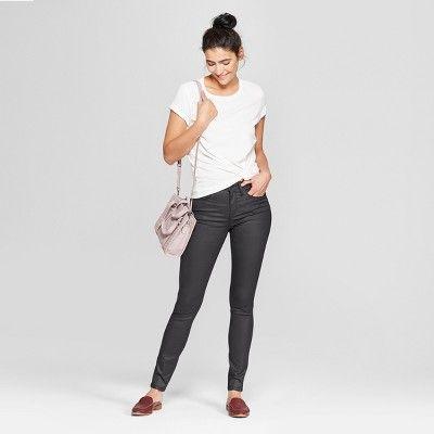 6d4c59157c6c Women's High-Rise Coated Skinny Jeans - Universal Thread Black 00, Size: 0