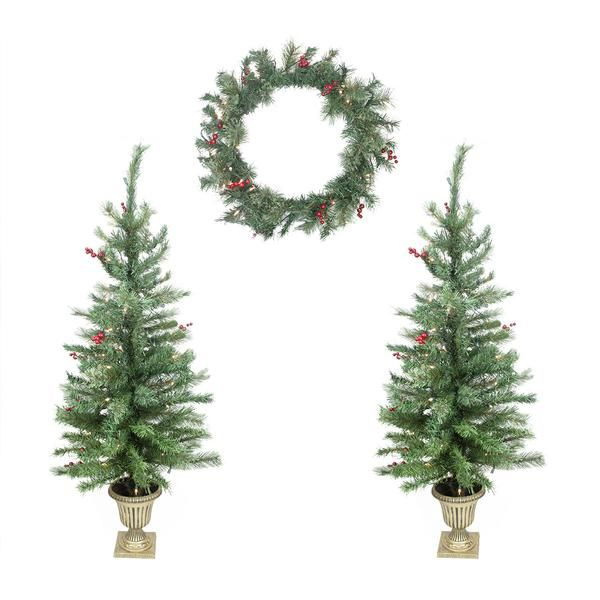 Set of 4 Red Berry Pine Artificial Christmas Trees and Wreath