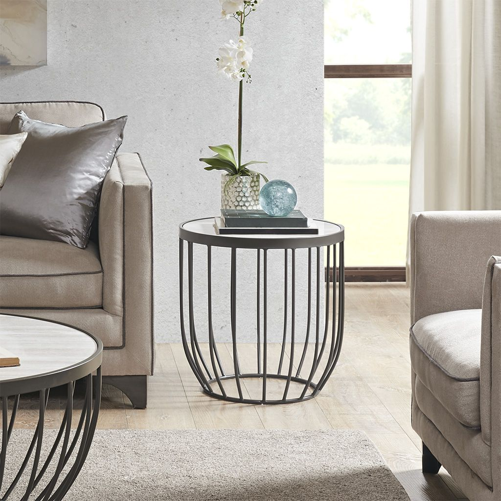 Madison Park Radcliff End Table in Natural/Graphite - Olliix MP120-0927  MP120-0927 Features: Transitional StyleTop Material:MarbleBase Material:MetalTop Finish:White MarbleBase Finish:GraphiteMade in ChinaSize: Dia 20