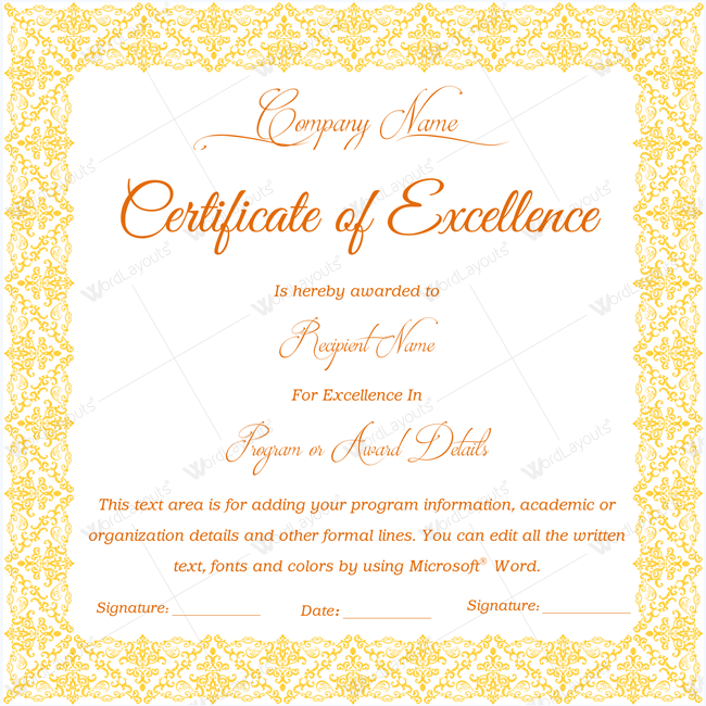 Blank Certificate Of Excellence Excellence Certificatetemplate