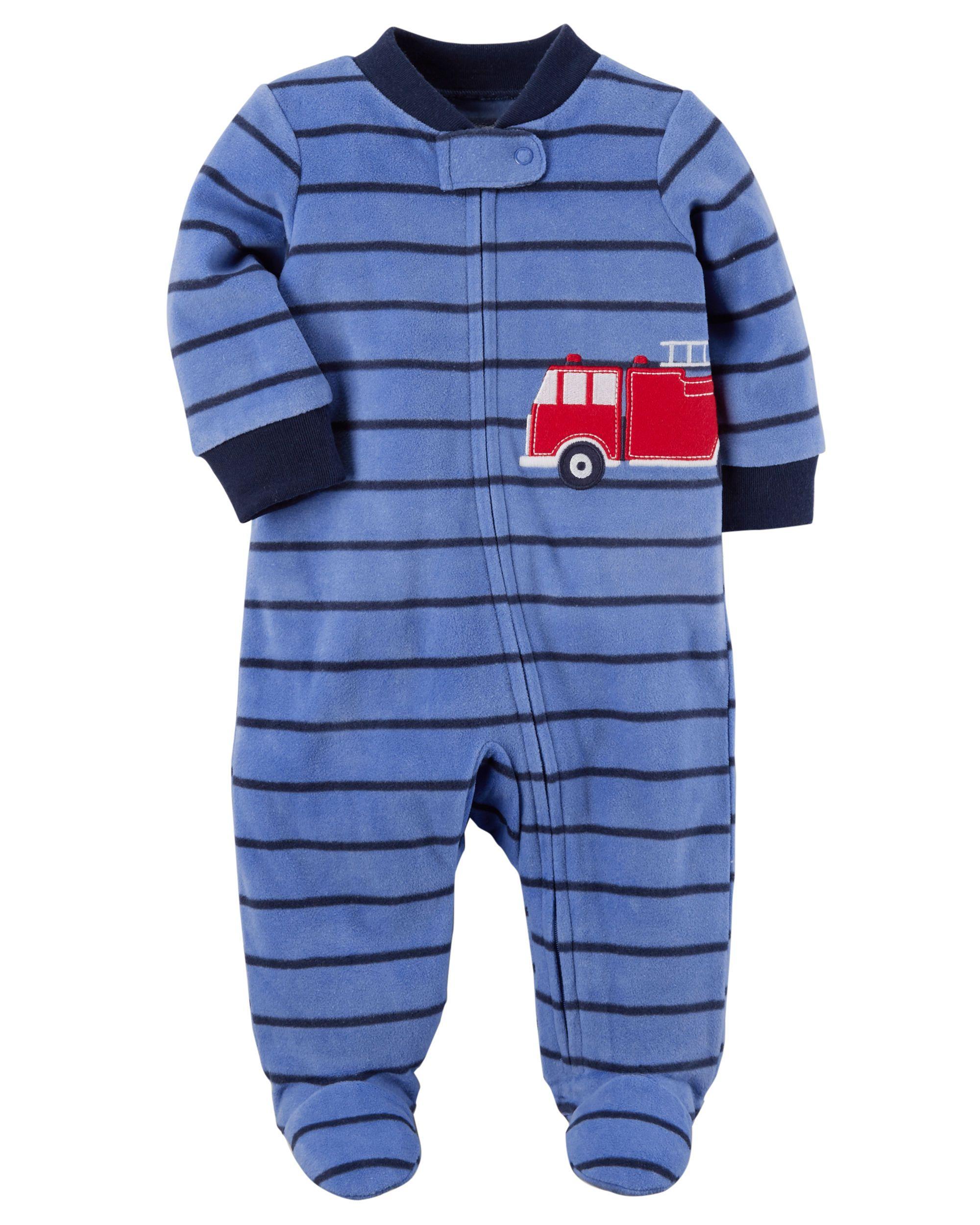 2d7f9c6fc98f Baby Boy Firetruck Zip-Up Fleece Sleep   Play