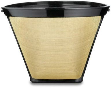 4 Cone Shape Permanent Coffee Filter Gold Black 1