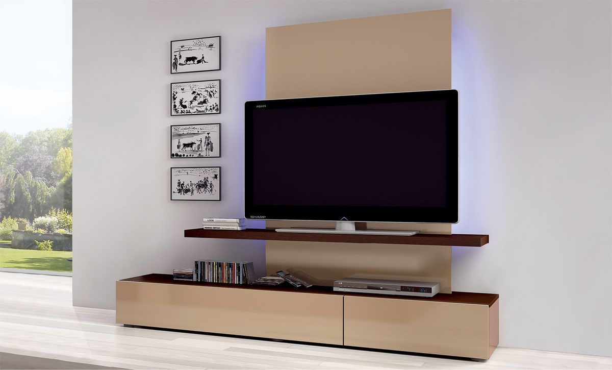 Flat Screen TV Mounting Ideas | ... -tv-on-brown-desk-and-white-wall ...