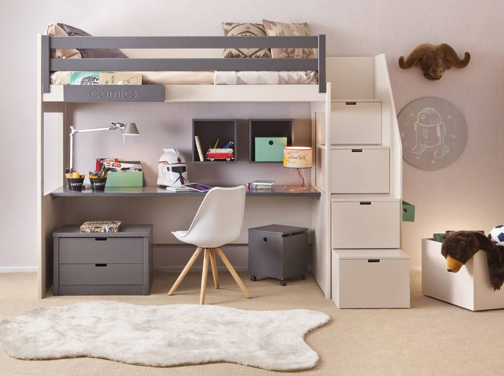 Lit mezzanine enfant avec etagere design bibliothèque lit filles