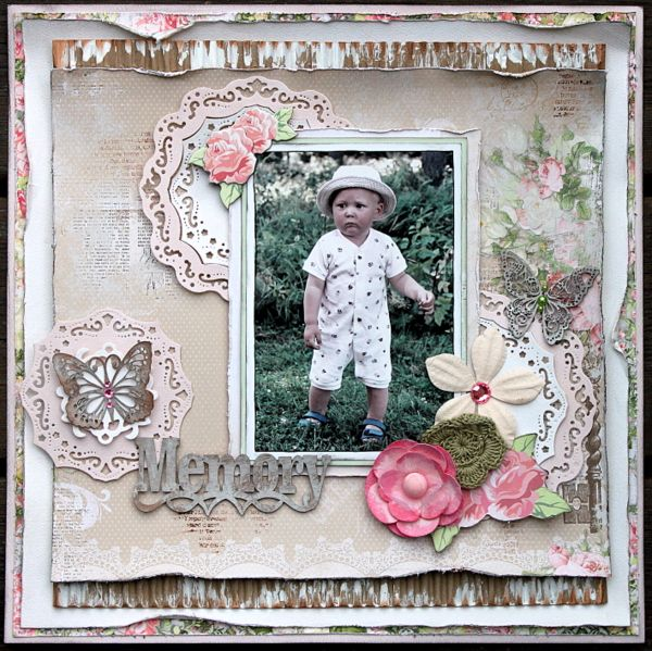 Memory Scrapbook Page by Ulrika Wandler using BoBunnys Sweet Soiree Collection. #BoBunny @hemmahosulrika
