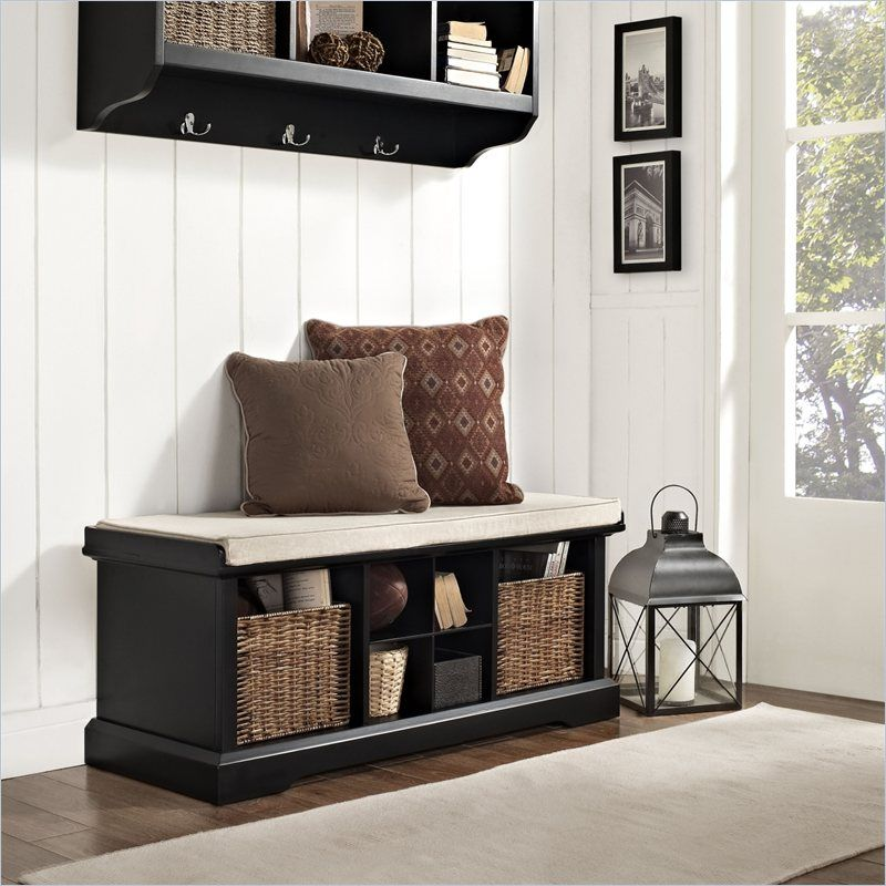 Eye Catching Entryway Benches With 2 Pillow White Carpet Near The