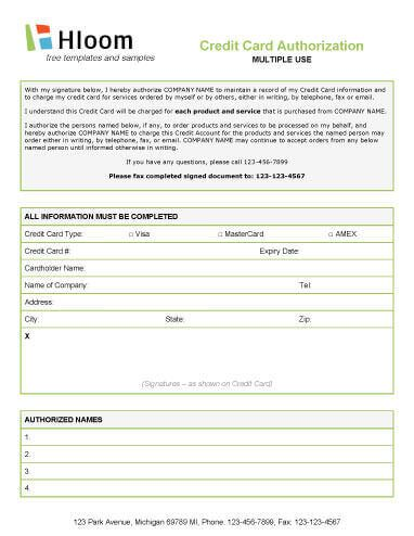Credit Card Authorization Form. Credit Card Authorization Letter
