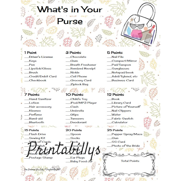 This Is A 1 Page Pdf The Purchased Pdf Will Not Have The Large Watermark Whats In Your Purse Pads Tampons Tampons