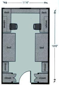 Ashton Hall Double Room Floor Layout Seattle Pacific University With Images Dorm Layout Dorm Room Layouts Dorm Project