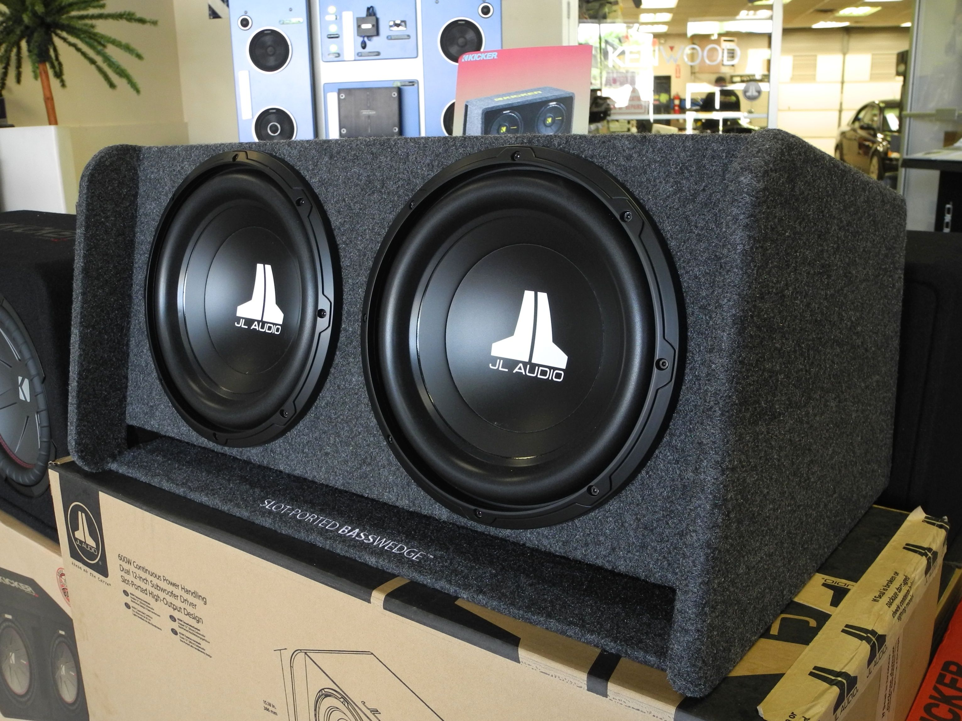 For your Woofer Wednesday: JL Audio's slot-ported BassWedge subwoofer  system! Loaded with dual 12W0v3-4 subwoofers…   Custom car audio, Car  audio, Car audio systems