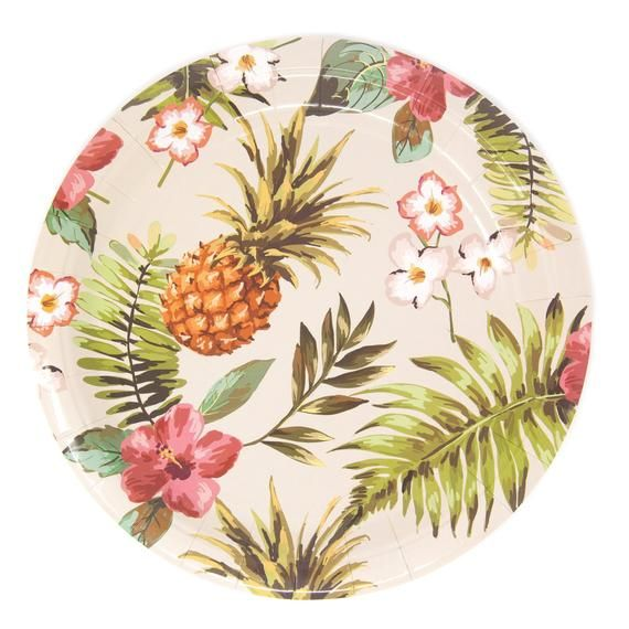 Hawaiian Luau Party Supplies, Hawaiian Tropical Decor, Cake Plates, Dinner Plates, and Paper Cups. Tiki Party and Baby Shower #hawaiianluauparty