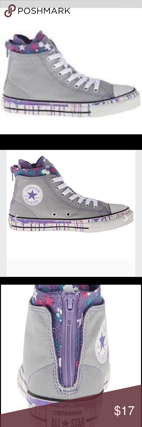 Girls converse grey purple   pink High tops Cute girls grey and purple high  tops with zipper in back Converse Shoes Sneakers c4a0ae9b9
