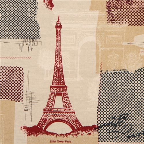 linen-coloured Paris Eiffel Tower fabric Timeless Treasures 1