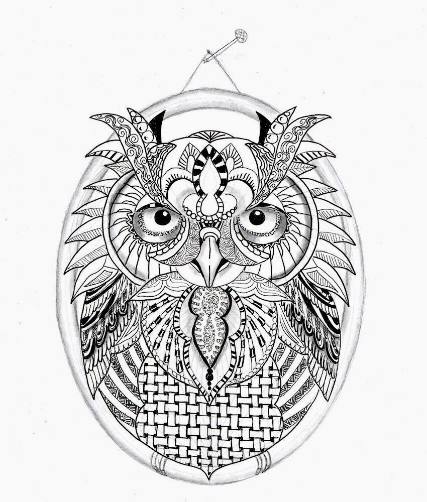 Efie goes Zentangle: owl...uil... van Ben Kwok | animal drawings ...