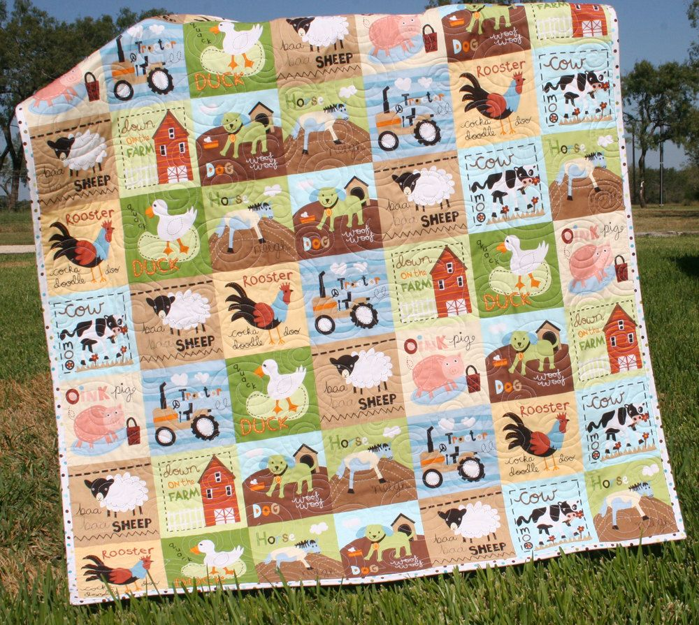Farm quilt boy tractor blanket cows horses barn country for Boy quilt fabric