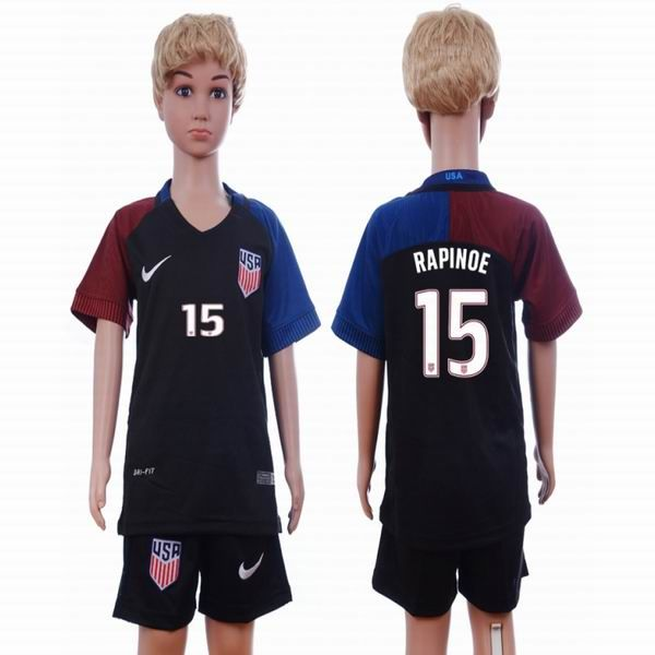 2016-2017 2016-2017 United States team RAPINOE #15 black kids soccer jersey away