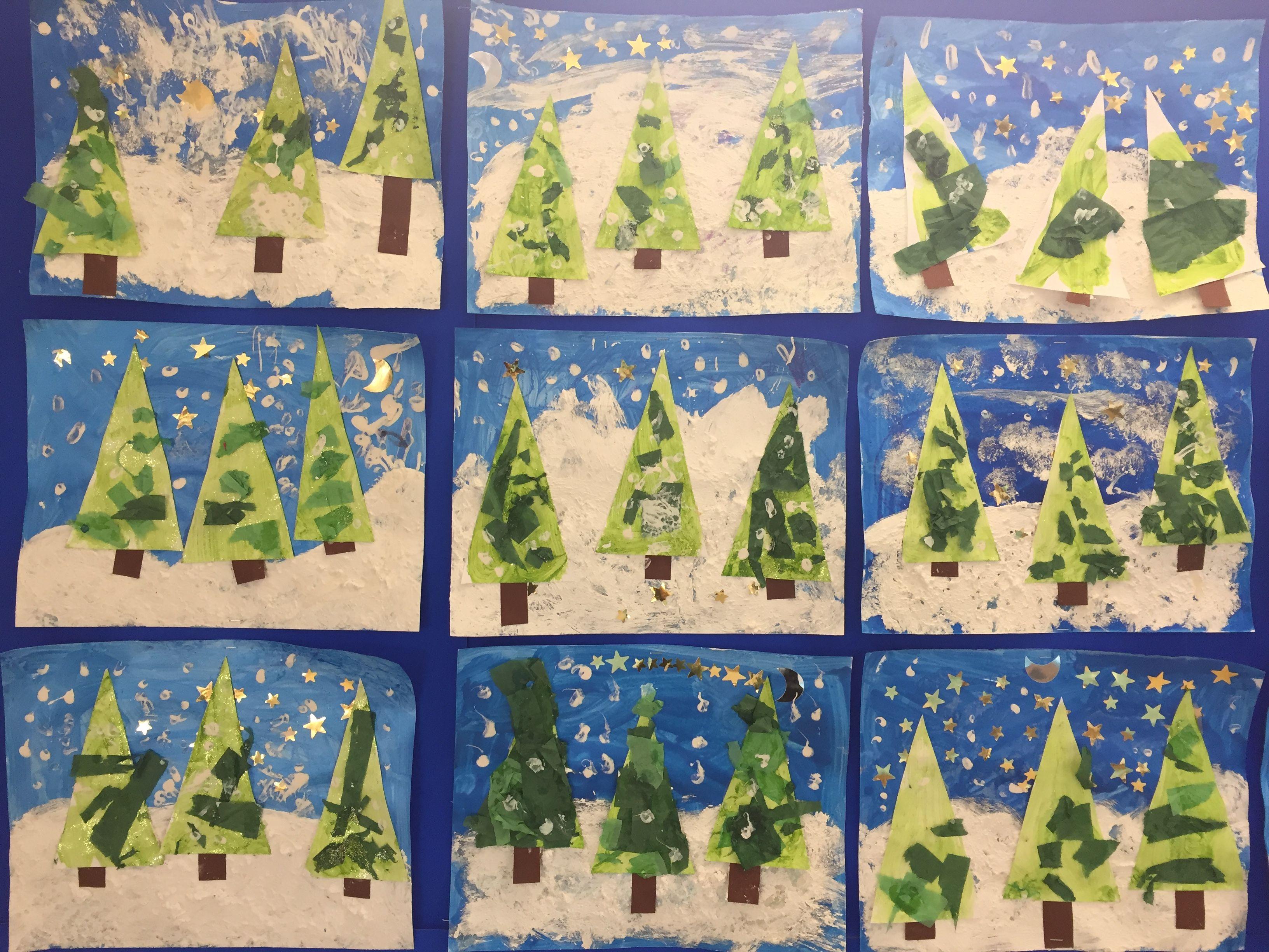 Arbres d 39 hiver fond spirales bleues craies grasse - Peinture blanche pailletee ...