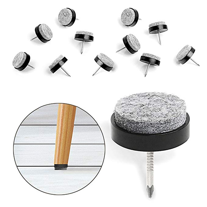 40pcs Furniture Felt Pad Round Heavy Duty Nail On Slider Glide Pad Floor Protector For Wooden Furniture C Felt Furniture Pads Furniture Sliders Furniture Chair