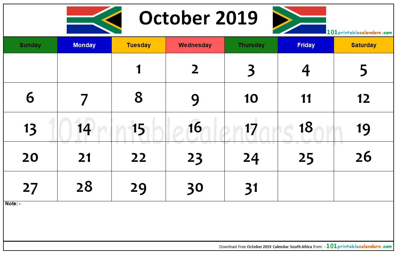 October 2019 Calendar South Africa With Images 2019 Calendar