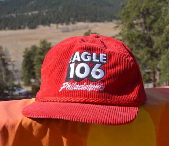 80s vintage corduroy trucker hat EAGLE 106 philadelphia radio ... 15ccd395b6b0