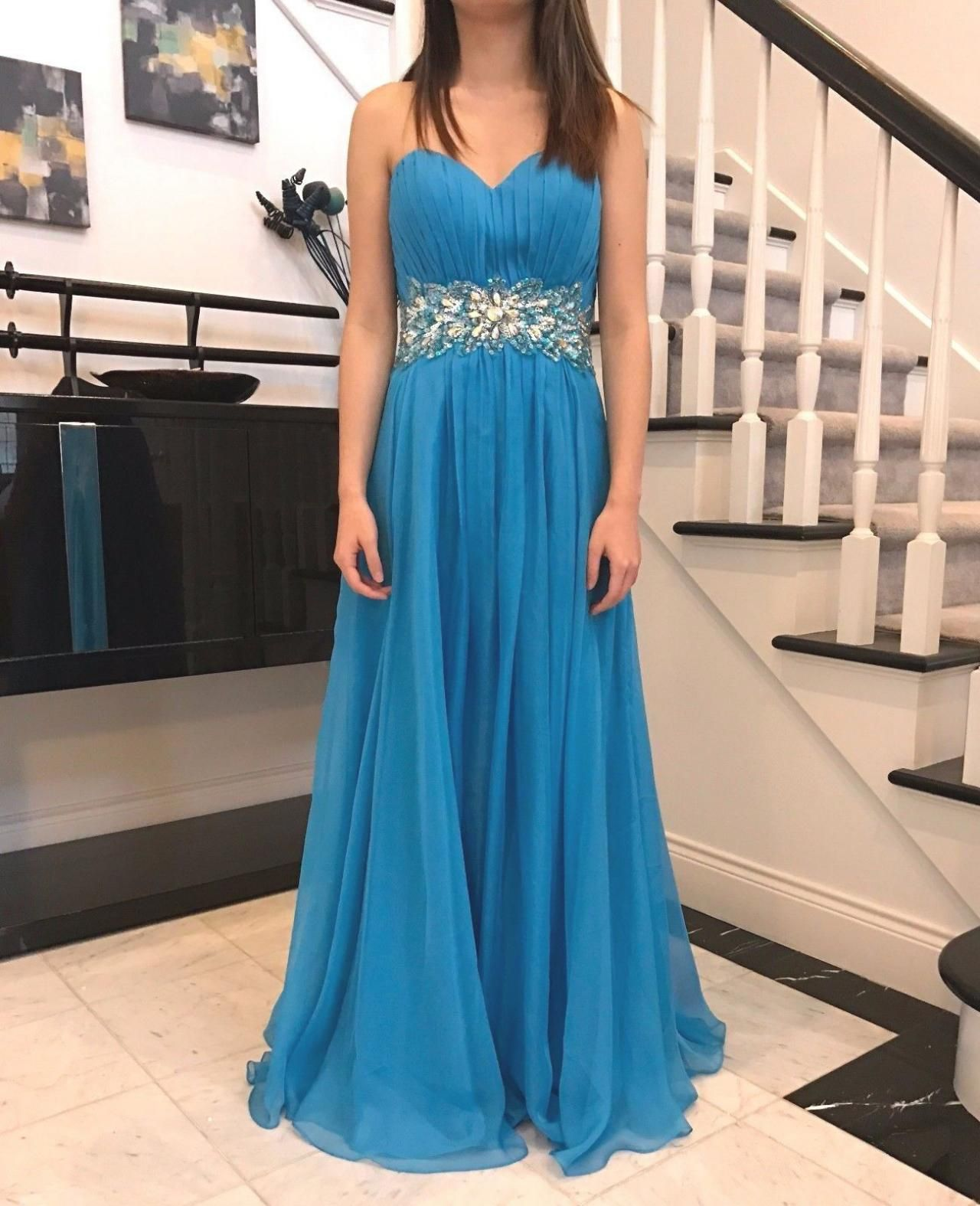 Chiffon Long Sweetheart Sky Blue Prom Dresses ,Long Elegant Prom ...