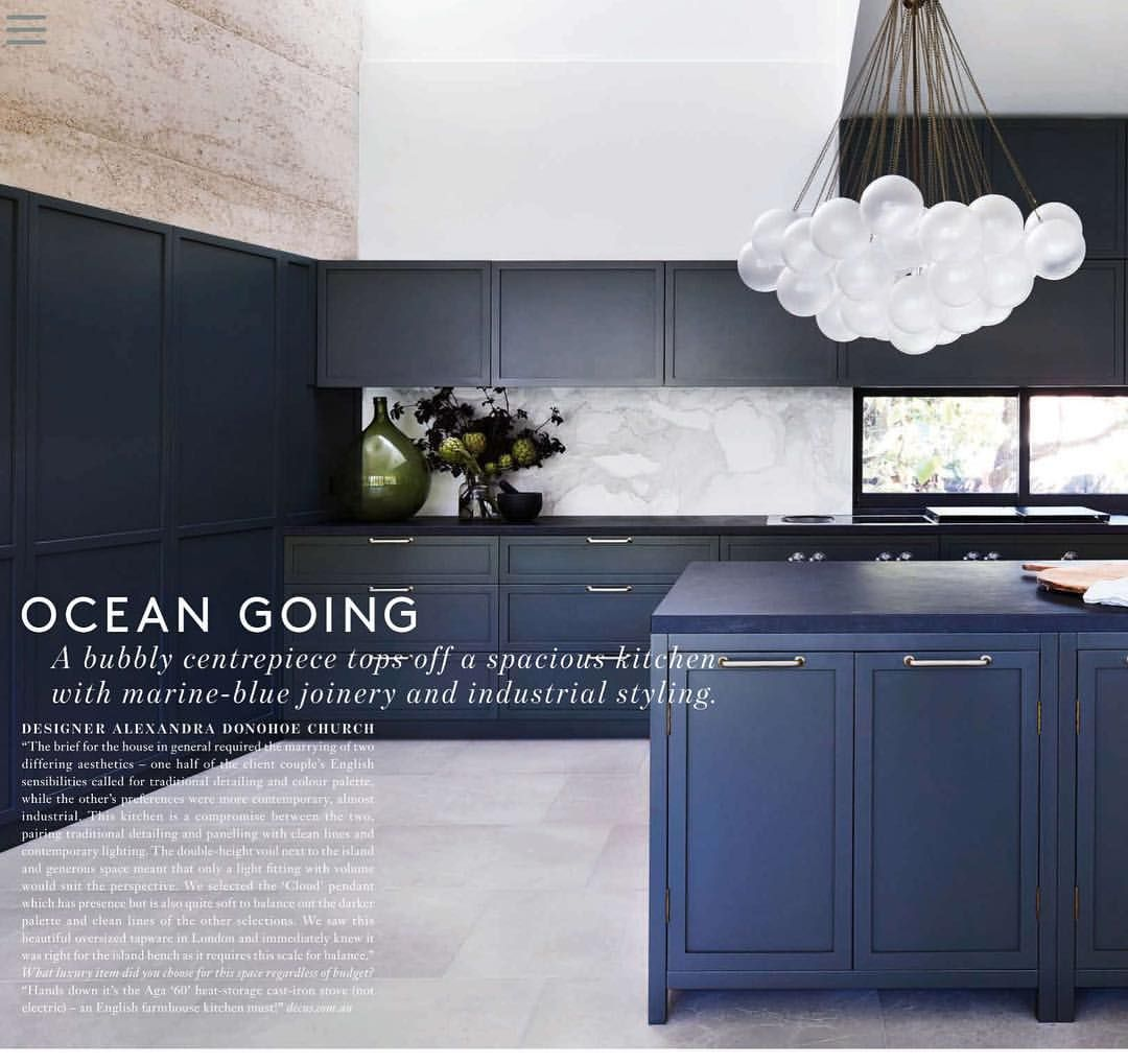 Kitchen Design Articles: Love The Blue Joinery With The Statuario Venato Marble