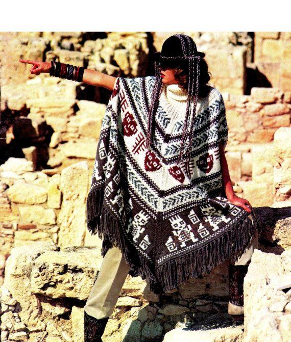 Vintage 70s Aztec Knit Poncho Pdf Pattern Tribal Arrow Print