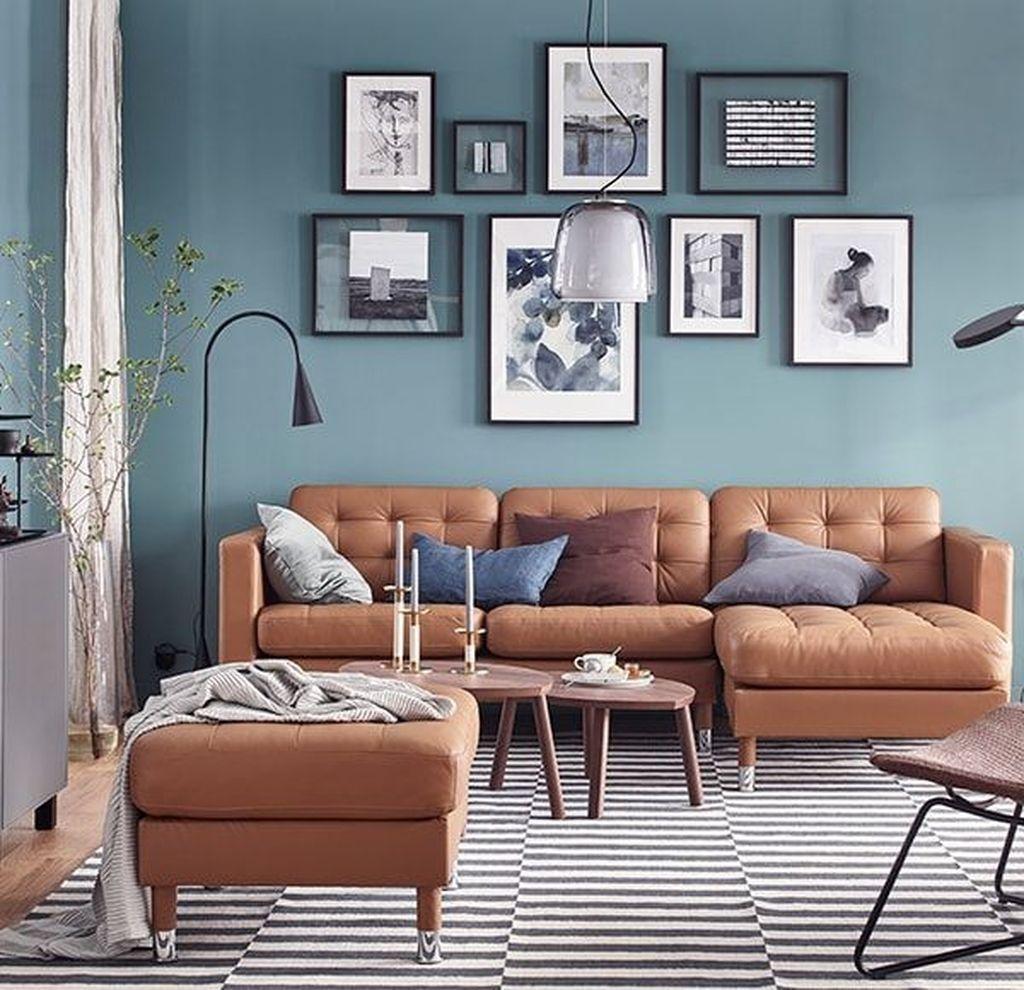 40 Vintage Blue Living Room Design Ideas You Must Have Blue Walls Living Room Tan Living Room Brown Sofa Living Room