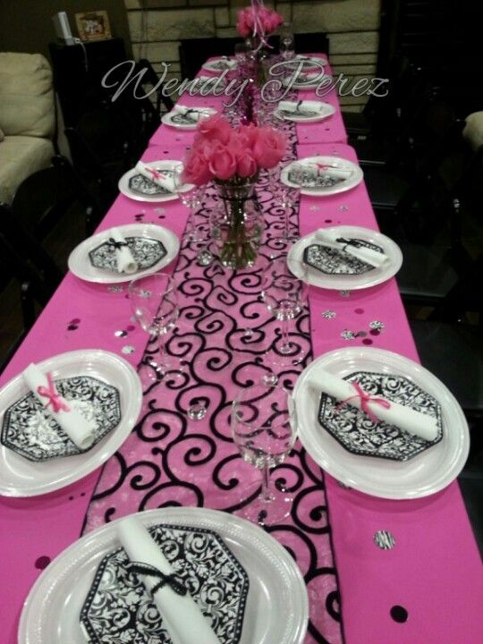 Hot Pink Diamond Graduation Dinner Table With Roses And Diploma Napkins Black