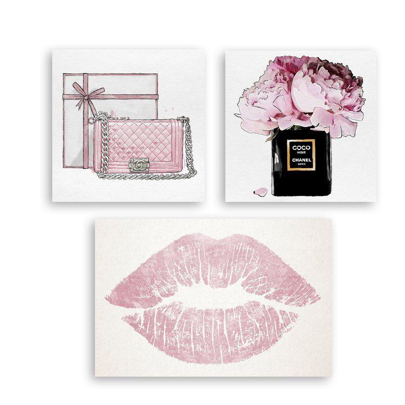 Pink chanel 3 piece graphic art print set on canvas