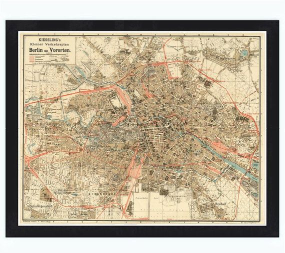 Old Map Of Berlin Germany 1904 Antique Vintage Kamppa